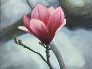 Magnolie, Ölmalerei
