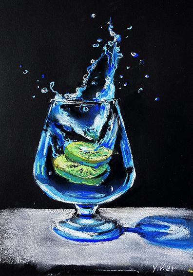 Stillleben,Pastellmalerei, Glas. Eis, Kiwi