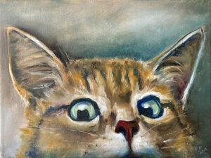 Katze, Tiere, Ölfarben auf Leinwand, 30x40 cm, Malkurse Freiburg