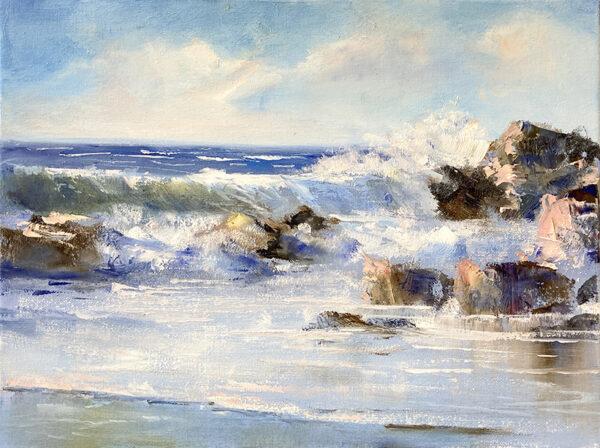Welle, Mittelmeer, Landschaft, Ölmalerei