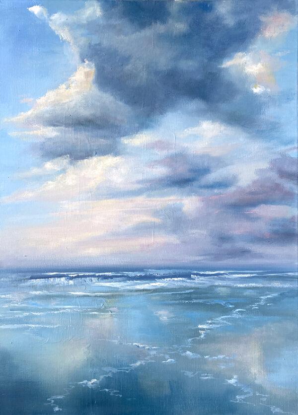 Wolken am Meer, Ölmalerei