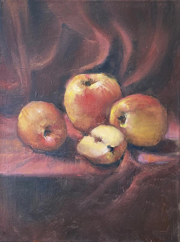 Stillleben, Äpfel, Ölmalerei
